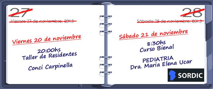 Cambio de fecha de las actividades de noviembre